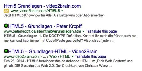 Google Suche mit AdWords